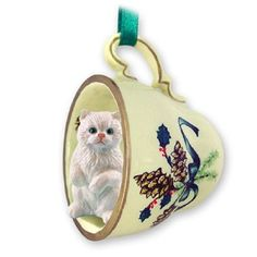 Persian White Cat Tea Cup Green