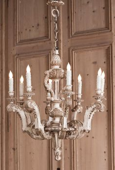 add touches of olive and gold to antique it. Painted Chandelier, Antique Chandelier, Antique Lighting, Louis Xiv, Chandeliers, Growing Up Girl, Wood Panel Walls, Dining Room Lighting, Shabby Chic Cottage