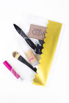 Pencil cases aren't just for school supplies. Grab a cheap pencil pouch and add some gold adhesive vinyl for a chic makeup bag. #Silhouette #Project