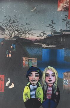 """""""Geordie & Miki caught in a print. Aoi Slope outside Toranamon Gate on a chilly night Gate, The Outsiders, Night, Twitter, Painting, Design, Painting Art, Paintings, Design Comics"""