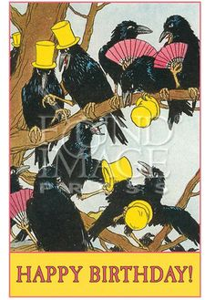 """""""HAPPY BIRTHDAY"""" RAVEN PARTY BLANK GREETING CARD Image"""