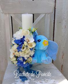 Lumanare botez cu elefant Hanukkah, Baby Shower, Wreaths, Table Decorations, Design, Home Decor, Blue Prints, Babyshower, Decoration Home