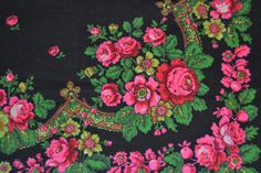 Vintage Russian wool shawl Ukrainian Floral by Lilivintagebox