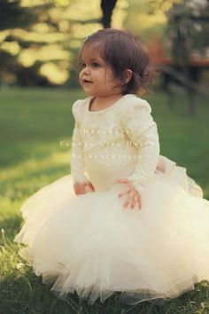 Anagrassia Flower Girl Dress for Fall Winter Wedding: Ivory Cream Alencon Lace Leotard and Champagne, Ivory, White tulle Skirt with Champagne Sash