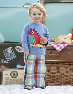 Woven Check Roll up trousers from Frugi, available in sizes 0-3 months to age 2-3 years