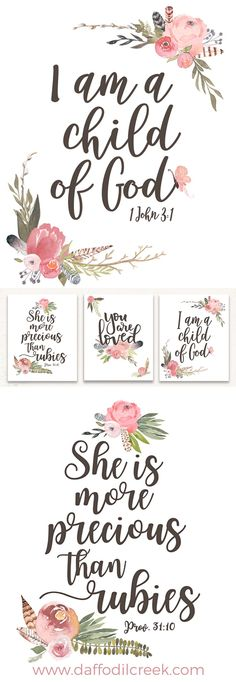 Vintage Nursery Set of Three Lettered Prints - Jesus Quote - Christian Quote - Love this beautiful bible verse set for a little girl's nursery! The watercolor is so sweet! The post Vintage Nursery Set of Three Lettered Prints appeared first on Gag Dad. Boho Nursery, Nursery Prints, Girl Nursery, Nursery Sets, Vintage Nursery Girl, Baby Prints, Art Diy, Little Girl Rooms, Diy Home