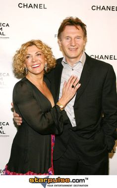 Liam Neeson and wife Natasha Richardson -- so sad.  She died as a result of a skiing accident.