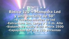 Equipo de sonido profesional estéreo con capacidad de 30 a 100 personas con un sistema B-52 Matrix 2500 como el que se muestra en la imagen Cabina de Dj Pionner ó Denon con Laptop, micrófono Inalámbrico, audífonos, ETC. Maquina generadora de humo profesional no tiene olor se usa a discreción Equipo de iluminación basado en 4 cabezas móviles de led Pantalla de vídeo de 50″ en donde se verán los vídeos de la música que se este tocando en ese momento (opcional) Mas Informacion En La Pagina