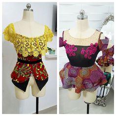 2 colorful and pretty kathyanthony blouses... #skirtandblouse #peplumblouse #kathyanthonydesigns #ankara #kathyanthony