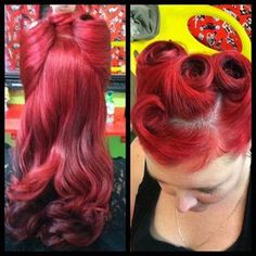 Rockabilly vintage hair. I WISH my curly frizzy hair would go like this!