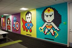 "Bruck7 creates ""Pixel Superheroes"", a new indoor installation in NYC, USA"