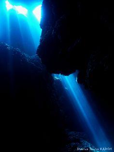 Underwater cave & great sunlight.