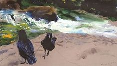 Jamie Wyeth - Raven Pair, Brandywine, combined mediums on archival rag board, Jamie Wyeth, Andrew Wyeth, Brandywine River, Cultural Events, Animal Paintings, Artist Painting, In A Heartbeat, Raven, Art Photography