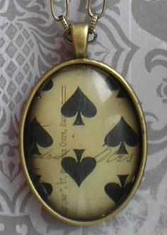 spades pendant NECKLACE in ANTIQUE BRASS