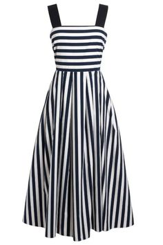 Robe originale Tara Jarmonobe longue d'inspiration marine, imprimée rayures horizontales blanches et bleu nuit. Se ferme à l'aide d'un zip invisible au dos. Pour une allure féminine et printanière.