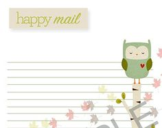 Owl Happy Mail-Notes Page (Personal)