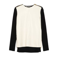 Leather and Ribbed-Knit Top