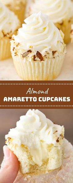 these cupcakes are severely scrumptious and have been made by means of request. the base cupcake is moist and fluffy and uses almond extrac. Almond Frosting, Almond Cupcakes, Delicious Cupcakes, Delicious Desserts, White Chocolate Chips, Chocolate Ganache, Cake Recipes, Dessert Recipes, Cupcake Flavors