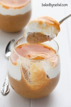 Homemade pumpkin pie pudding with whipped cream and caramel sauce. Recipe from…