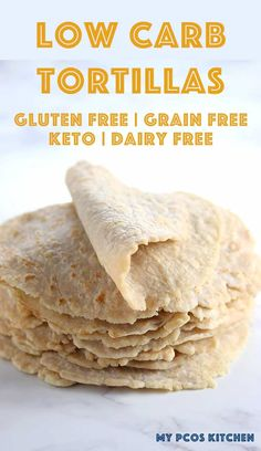 You won't want to make any other low carb tortilla recipe ever again after making these. They are the real deal! #lowcarbtortillas #glutenfreetortillas #tortilla #tortillarecipe #mypcoskitchen Low Sugar Recipes, Healthy Low Carb Recipes, Low Carb Dinner Recipes, Low Carb Desserts, Diet Recipes, Ramen Recipes, Diet Meals, Muffin Recipes, Keto Dinner