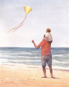 Father and Son Flying a Kite Art Print of Watercolor Painting - Beach Nautical Themed, Nursery Boys Room Watercolor Paintings Nature, Beach Watercolor, Watercolor Images, Watercolor And Ink, Go Fly A Kite, Baby Drawing, Father And Son, Beach Art, Art Drawings
