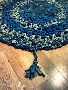 Star Denim Rug by MechantStudio on Etsy, €120.00  i think i could DIY this....would look cute in the living room or kitchen!