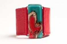 leather and glass bracelet, by Cristalida