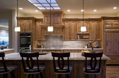Contemporary Home knotty alder kitchen cabinets Design Ideas, Pictures, Remodel and Decor. Counter with alder cabinets Knotty Pine Cabinets, Knotty Alder Kitchen, Pine Kitchen Cabinets, Custom Kitchen Cabinets, Kitchen Cabinet Design, Bathroom Cabinetry, Wood Cabinets, Cupboards, Kitchen Corner