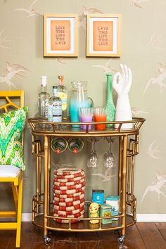I don't drink alcohol, but I love bar carts. They're such a neat and great way to organize things! bar cart