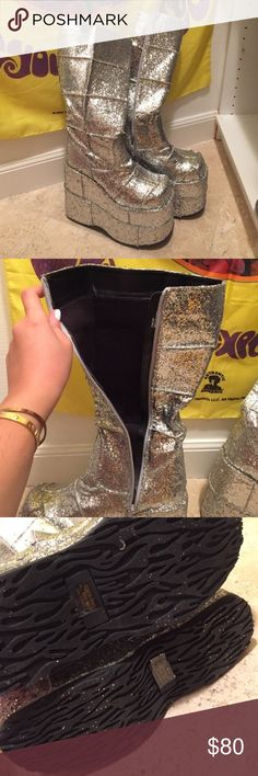 BRAND NEW Glitter Demonia stack boots Size: 8 BRAND NEW! Not actually YRU shoes but Demonia is a top platform brand as well! If you love YRU, you'll love these. 🤗 YRU Shoes Platforms