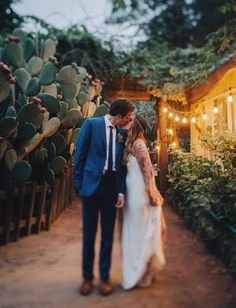 Big Sur Wedding // For the boho bride that loves California, twinkling lights and cactus - this is for you!
