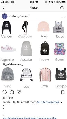 My sister is a cancer and she likes colorful and mix match outfits and she says she would wear the colorful crop top and I ama Leo and I would definitely wear mine because I love hoodies and sweatshirts Zodiac Signs Chart, Zodiac Signs Sagittarius, Zodiac Star Signs, Zodiac Sign Facts, My Zodiac Sign, Zodiac Horoscope, Zodiac Signs Love Matches, Pisces, Zodiac Clothes