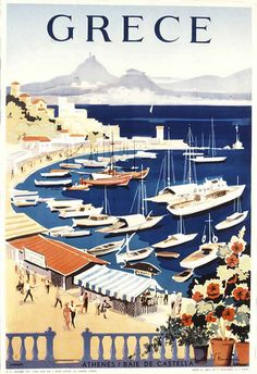 Vintage travel poster of Greece designed by G. Vakirtzis, 1955 Kastella #kitsakis