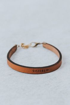 Thick Leather Bracelet Laser Engrained Sisters♡ Script Adjustable Metal Clasp Closure Made in USA Diy Leather Bracelet, Leather Jewelry, Leather Earrings, Diy Leather Rings, Leather Diy Crafts, Diy Leather Projects, Leather Crafting, How To Make Leather, Thick Leather