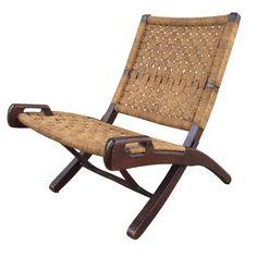 Hans Wegner Style Folding Woven Rope Chair on Chairish.com