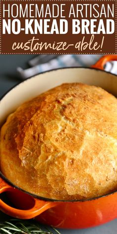 Homemade Artisan No-Knead Bread | Perfectly crusty on the outside, with a soft fluffy inside, this no knead bread is perfect with any dinner! | https://thechunkychef.com