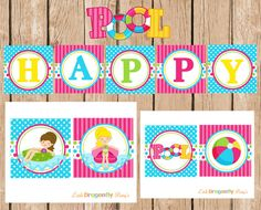 Pool Party Happy Birthday Banner DIY by LittleDragonflyParty