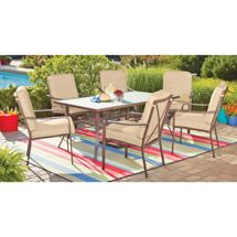Walmart: Mainstays Crossman 7-Piece Patio Dining Set, Tan, Seats 6 Looks more golden brown in person. Purchased the floor display for $173 -- Aug 2013.  No assembly and a great discount!!