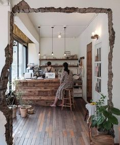 Industrial Home Fireplace industrial restaurant concrete. Cafe Shop Design, Cafe Interior Design, Interior Architecture, Design Jobs, Küchen Design, House Design, Small Coffee Shop, Cafe Concept, Style Deco