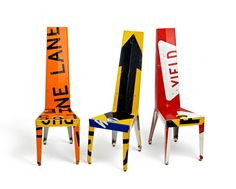 Boris Bally makes these striking chairs from recycled traffic signs.