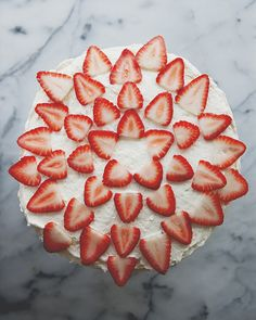 arrange strawberries (or candy) in rings to easily decorate a circle cake.