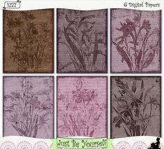 "This instant download collection of digital printer-ready 8.5 x 11 inch papers set feature 6 pages of gorgeous earth-tone vintage flowers in a shabby/grungy style in shades of brown and plum with grungy ""painted"" borders and music backgrounds. (1277)"