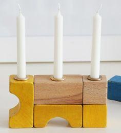 Bauklotz-Kerzenständer