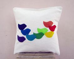 Colorful throw pillow: rainbow birds - perfect kids or woodland nursery pillow, eco friendly