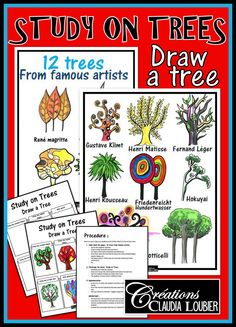 Art workshop: Study on Trees Here is a new workshop for Grades 3 to 6. Also interesting for Junior high and High school. You will find a procedure to help you guide your students through the appreciation of trees drawn by 12 different famous artists. Afterwards, they must create 6 different trees on an exercise sheet. This is only a workshop and not a project that requires a lot of materials. Having coloured pencil crayons and a regular pencil with be enough.