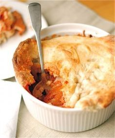 Pepperoni Pizza Pot Pie. Layers of sauce, pepperoni and cheese are all baked under the canopy of a delicious pizza crust. Your family will love this ooey gooey decadent dinner and you will too!