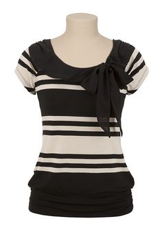 Tie Front Stripe Top available at #Maurices