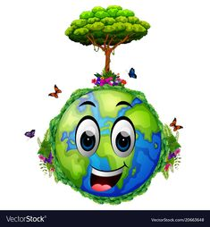 Earth and many green trees Royalty Free Vector Image Earth Drawings, Art Drawings For Kids, Colorful Drawings, Art For Kids, Save Mother Earth, Save Our Earth, Mother Art, Save Environment, Environment Concept Art