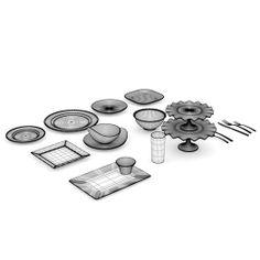 White Tableware 3D Model