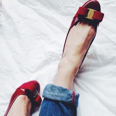 The magic of red shoes: Red patent leather Ferragamo Varina flats